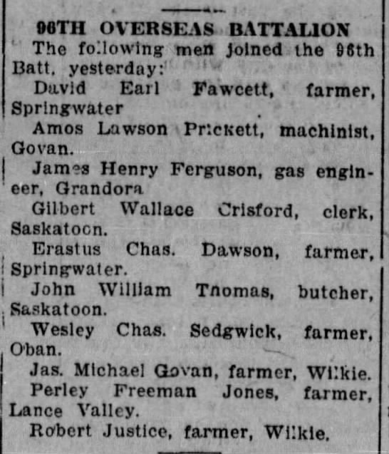 96th Battalion Enlistments of March 24, 1916 -