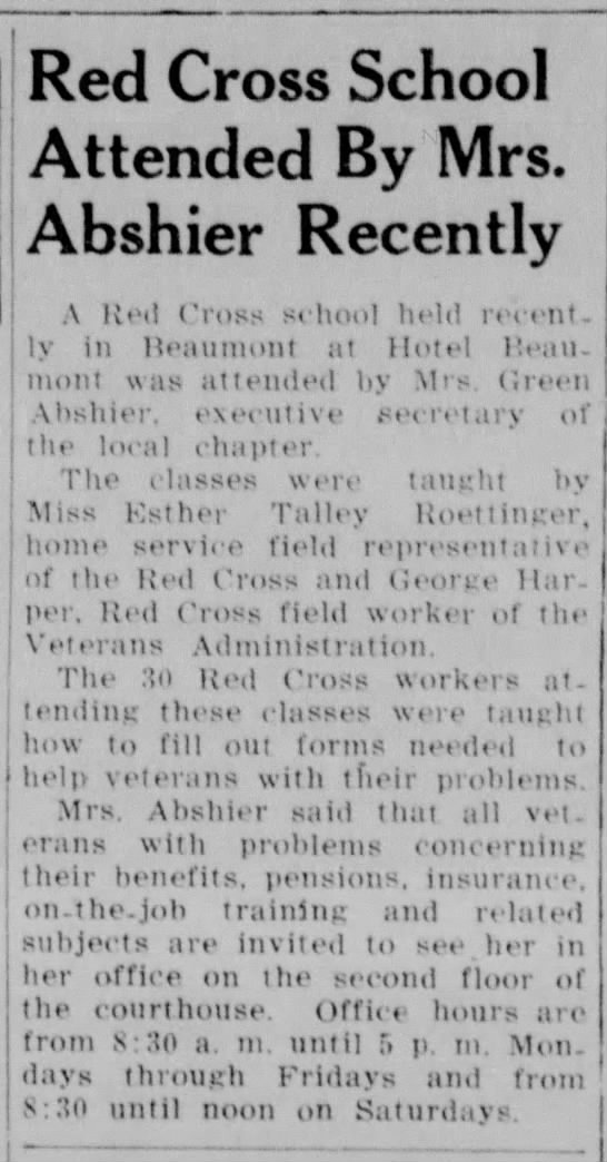 Mrs. Green Abshier attends Red Cross school -