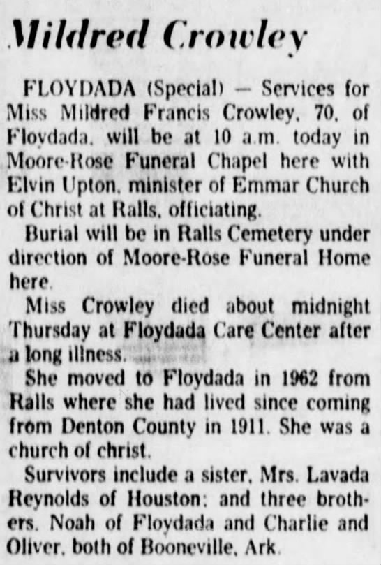 Mildrew Crowley Obit -