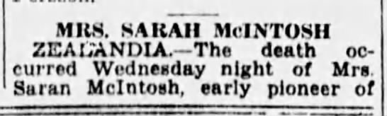 Obituary: Sarah McIntosh -