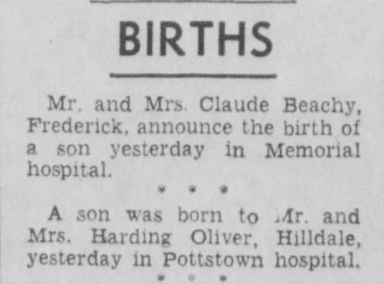 Michael Oliver birth notice - BIRTHS Mr. and Mrs. Claude Beachy, Frederick,...