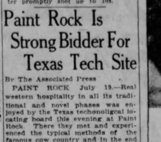 Paint Rock pitches July 19 1923 -