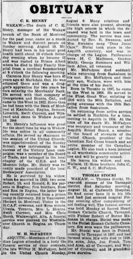 Obituaries: C K. Henry, W. H. McFadyen and Thomas Stocki -