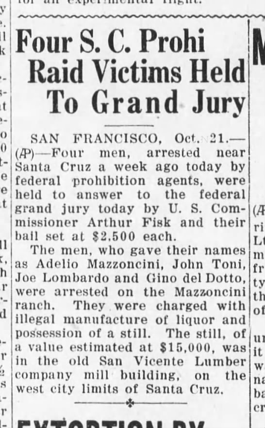Santa Cruz Evening News, 21 October 1930, Page 1, Column 2 -
