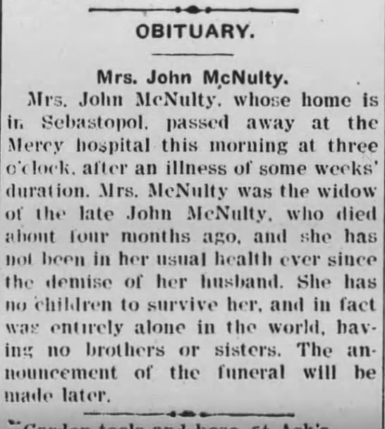 Her husband John passed away Mar 17th, 1901 -