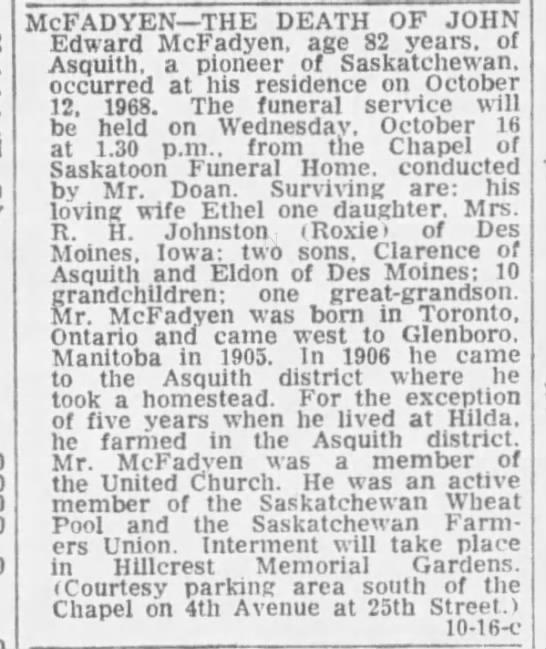 Obituary: John Edward McFadyen -