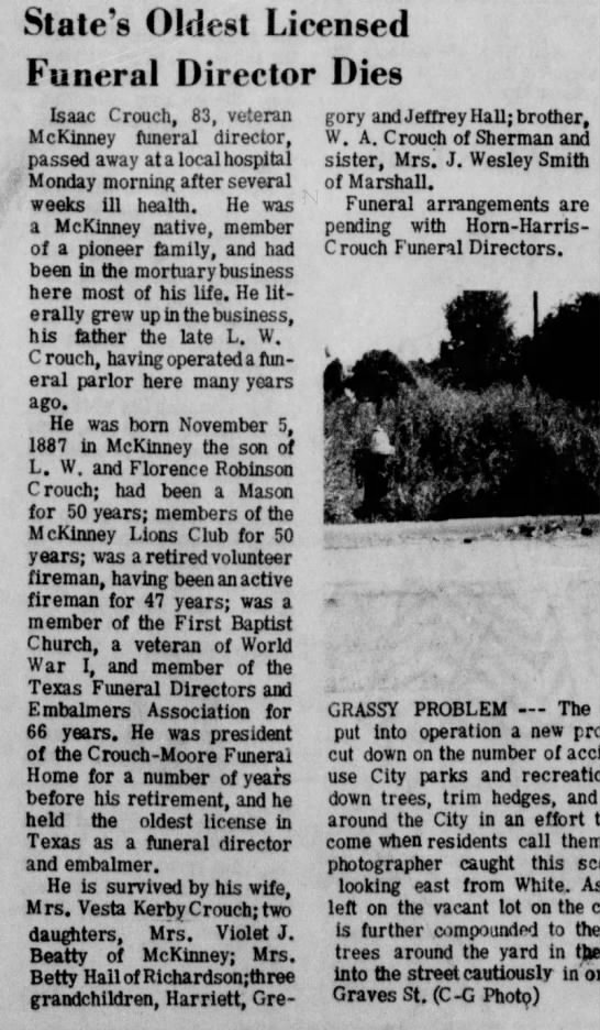 Issac Crouch Obituary August 10, 1970 The Courier Gazatte McKinney TX -