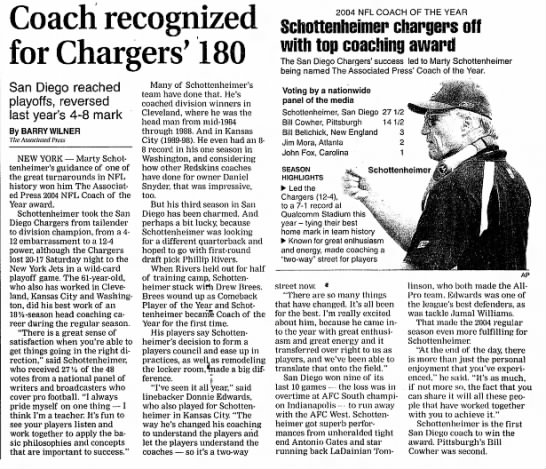 Marty Schottenheimer coach of the year 2004 -