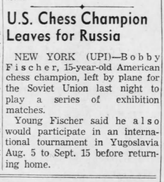 U.S. Chess Champion Leaves for Russia -