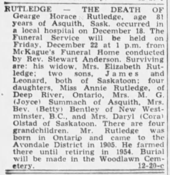 Obituary: George Horace Rutledge -
