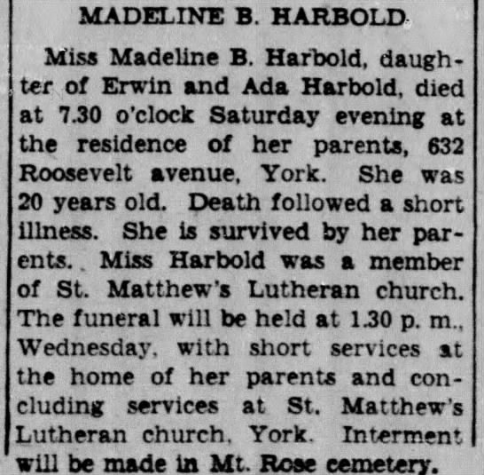 Miss Madeline B. Harbold, York, PA -