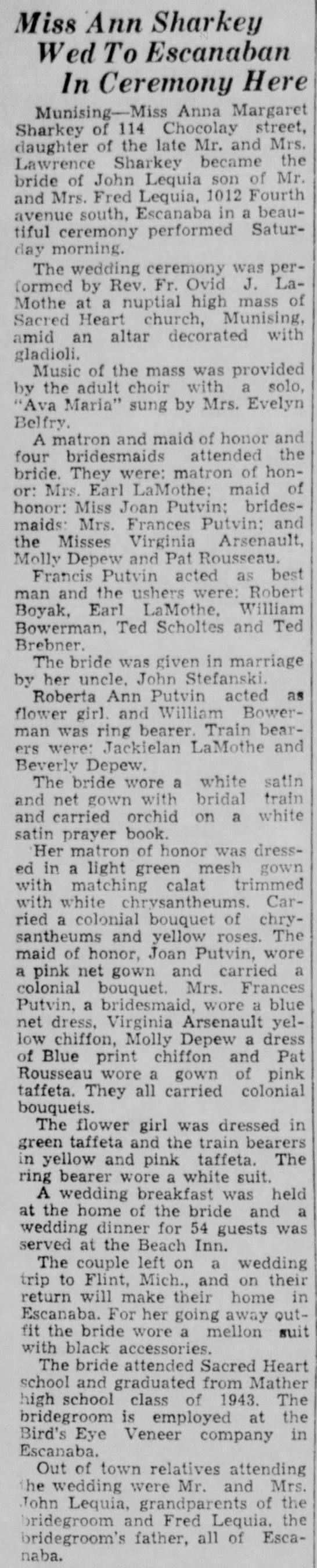 Lequia wedding Sept 1946