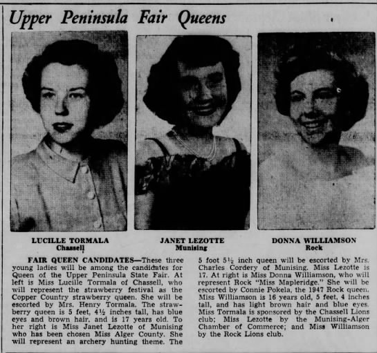 Lucille Tormala age 17, August 12, 1949, Henry Tormala's daughter -