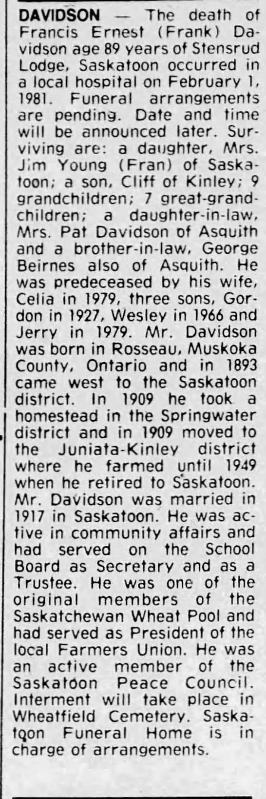 Obituary: Francis Ernest (Frank) Davidson -