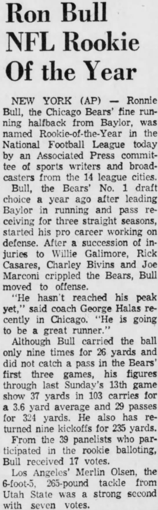 Ron Bull NFL Rookie Of the Year -