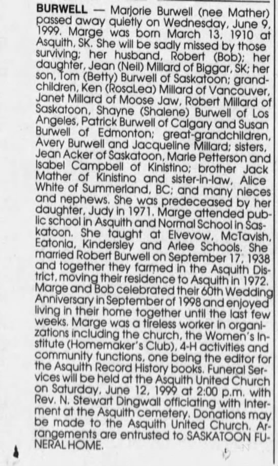 Obituary: Marjorie BURWELL nee Mather -