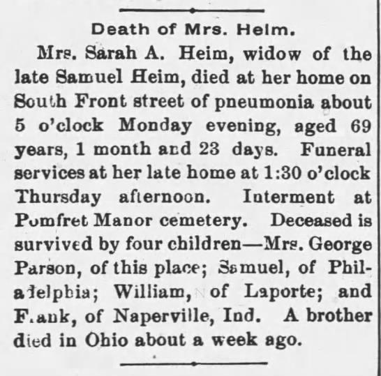 Sunbury Death Notice for Sarah A. Heim - 1897 -