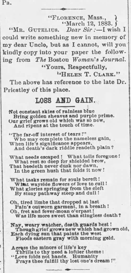 Helen to PA from Florence, poem - Newspapers com