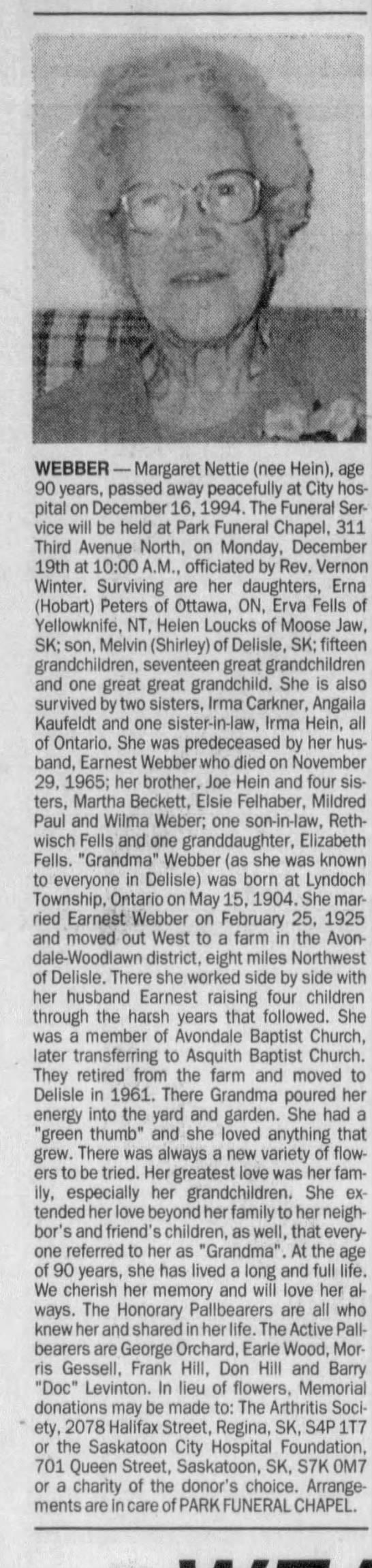 Obituary: Margaret Nettie WEBBER nee Hein, 1904-1994 (Aged 90) -