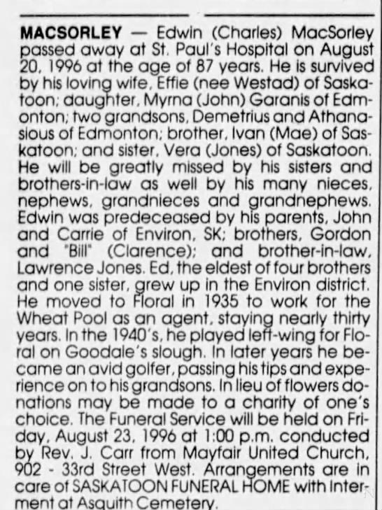 Obituary: Edwin (Charles) MACSORLEY (Aged 87) -