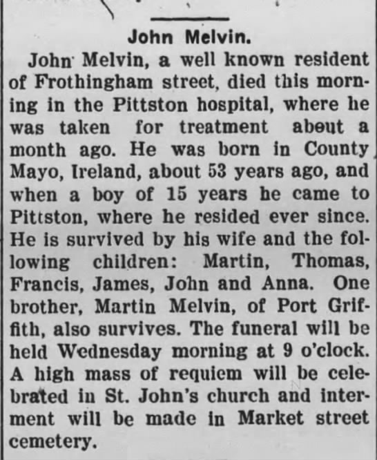 John Melvin- bro of Martin- d 9 Mar 1903 -