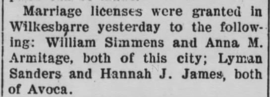 Pittston Gazette, 16 SEP 1904, p. 3 - Marriage licenses were granted in Wilkesbarre...