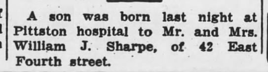 Bill Sharpe Jr birth announcement June 1940 -