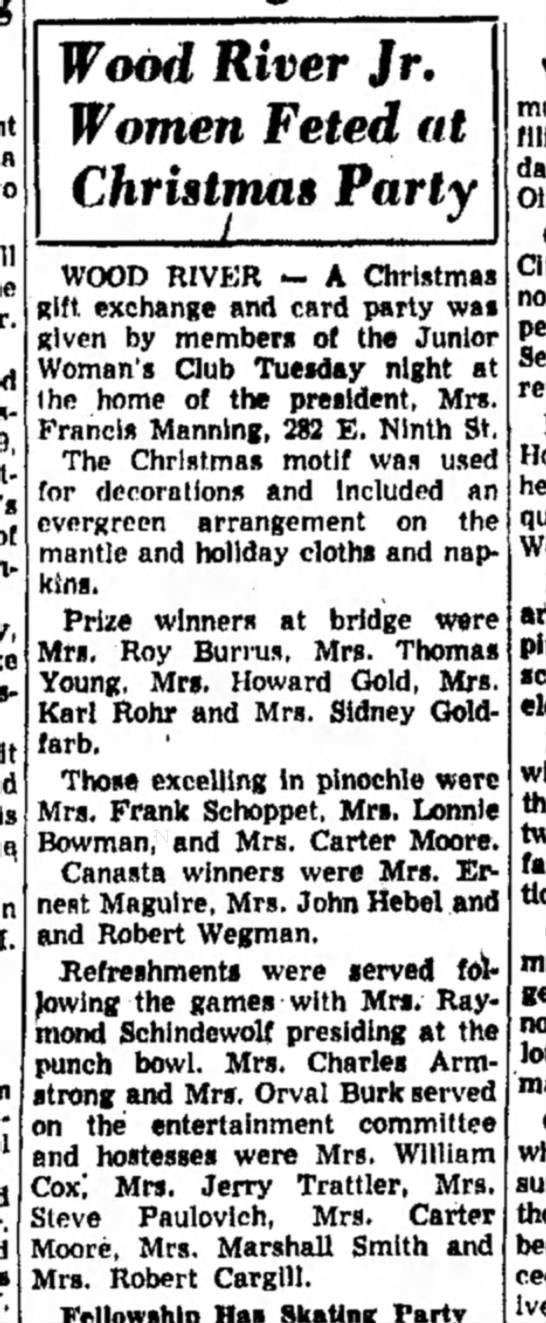 Mrs F J Manning - a Wood River Jr. Women Feted fit Christmas...