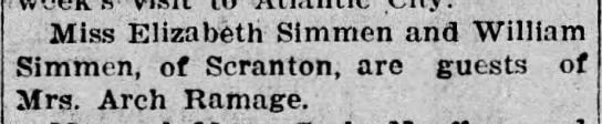 Pittston Gazette, 23 AUG 1907, p. 3 - . Miss Elizabeth Simmen and William Simhien, of...