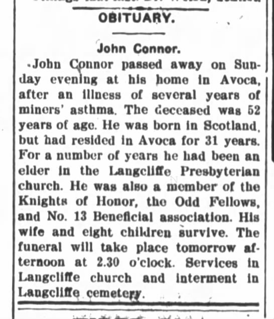 John Connor Sr. Obituary, July 7, 1903, Pittston Gazette, P. 6 -