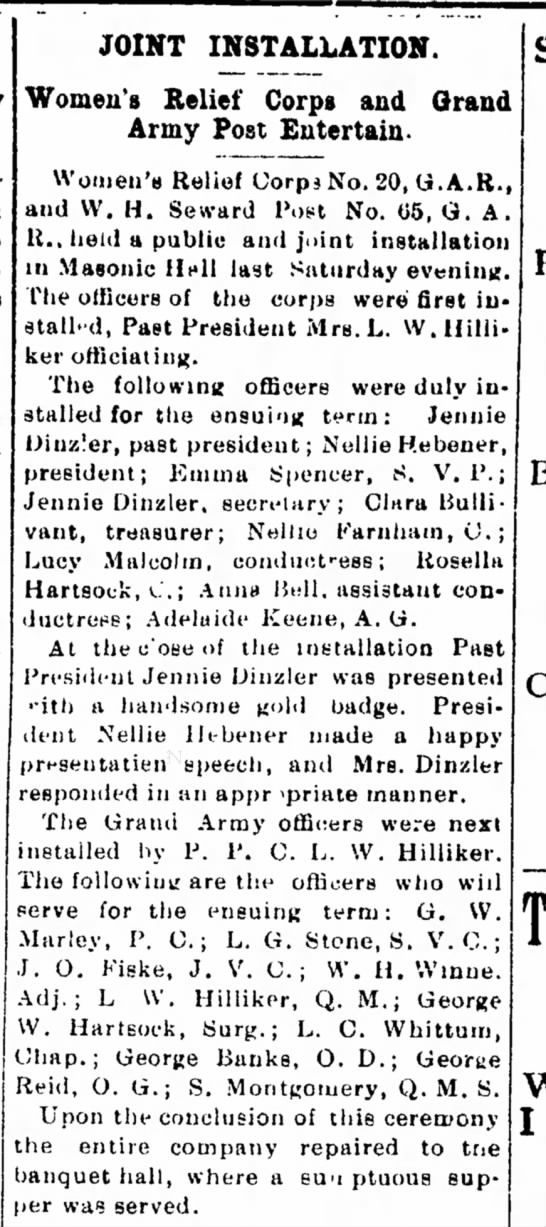 Rosella Hartsock- Joint Installation- Women's Relief Corps and Grand Army Post Entertain -