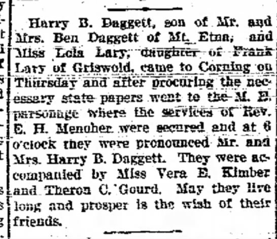 Marriage of Lola Lary to Harry Daggett -