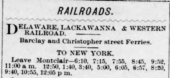 Daily train schedule from Montclair to New York - 1882 -