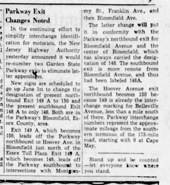 Exits, June 1, 1967 -