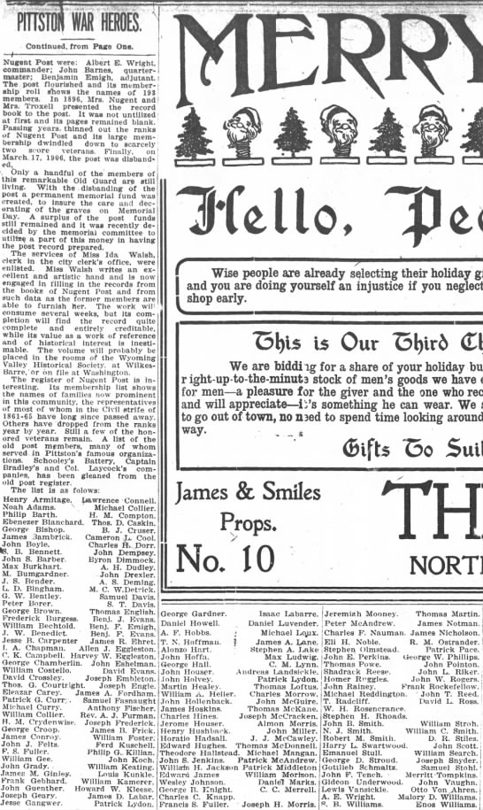 WG Nugent GAR Post and Patrick Lydon Page 9 article, PG 3 Dec 1910 -