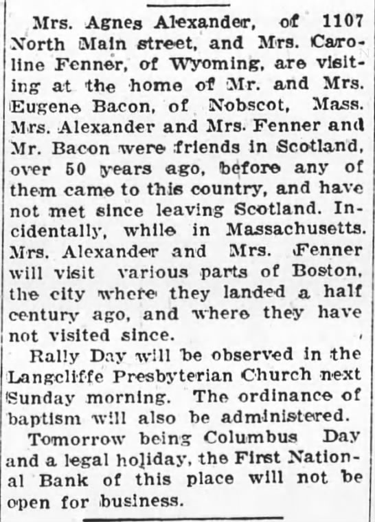 Agnes Morton Alexander visits Scottish friends in Boston -