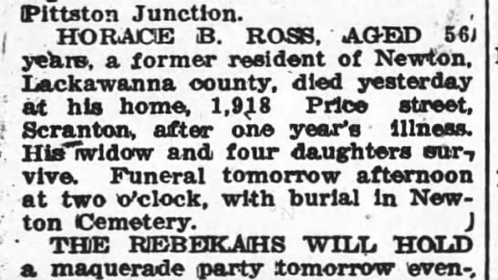 Ross, Horace B. Obituary