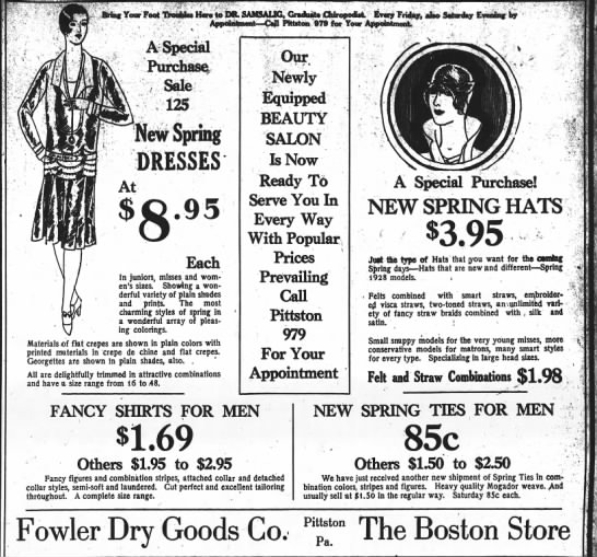 Fowler Dry Goods, Boston Store, 2 March 1928 -