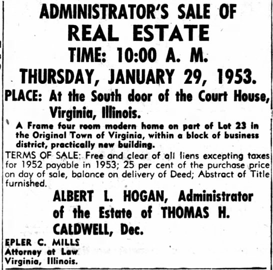 Estate Sale for Thomas H Caldwell -
