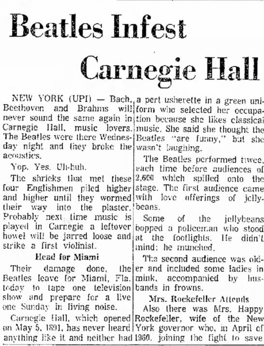 Beatles infest Carnegie Hall -