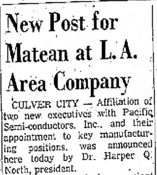 1960 March 23 - President Pacific Semi-conductors Inc. -
