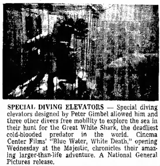 "Special diving elevators used in ""Blue water, white death"" (1971) -"