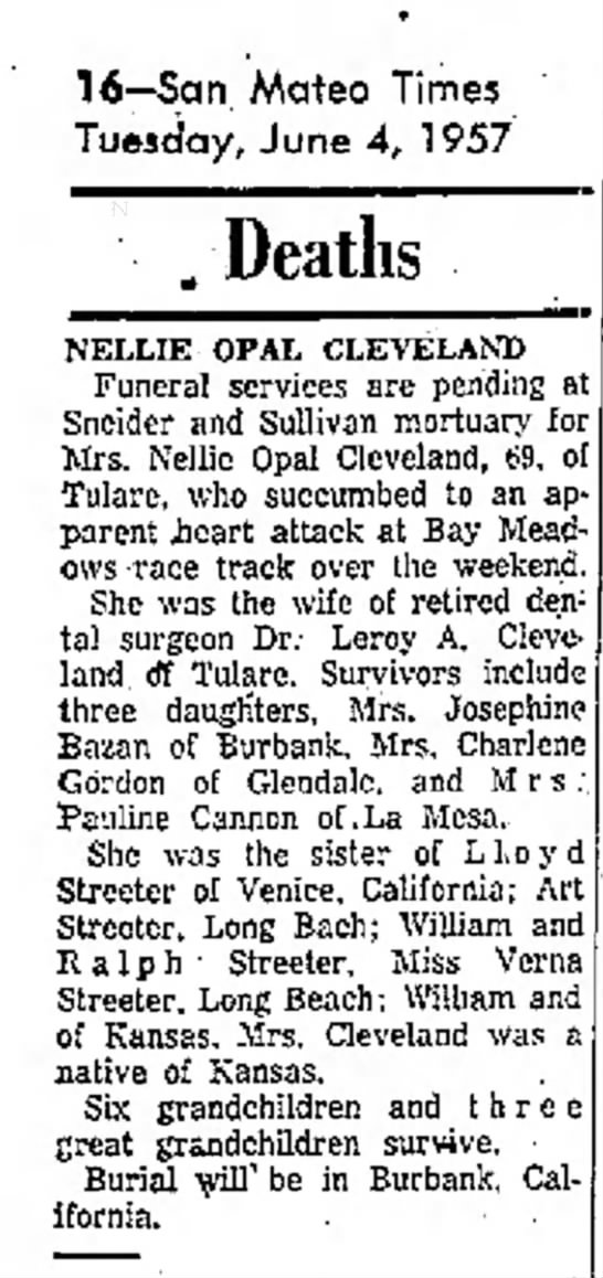 Nellie Opal Streeter Seitz Cleveland Obituary -