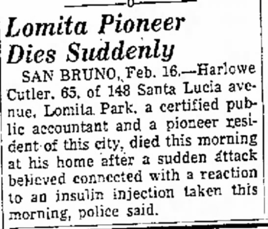 Harlow Cutler Death Notice -