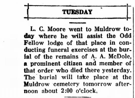 A.A. McDole death -