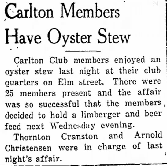 - (Sarlton Members Have Oyster Stew Carlton Club...
