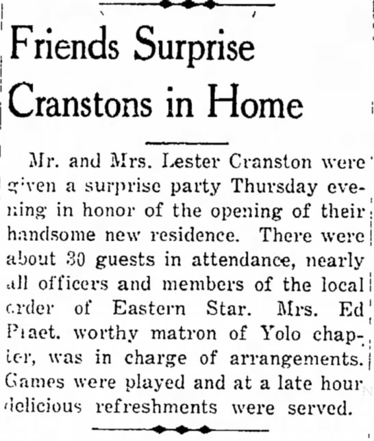 - i : - - , Friends Surprise Cranstons in Home...
