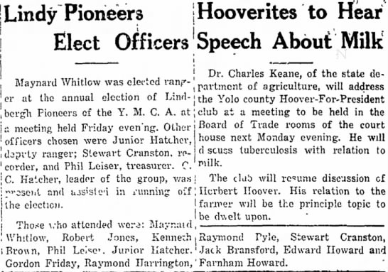 - Lindy Pioneers j Hoover ites to Hear Elect...