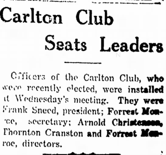 "- Carlton Club Seats Leaders Ci""f iters of the..."