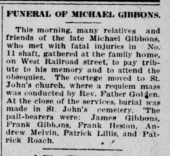 Patrick Lillis, pall bearer, Pittston Gazette, 5 Aug 1911 -